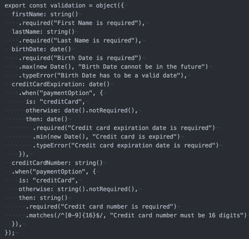 Sample: Full validation schema containing all of the fields validated above