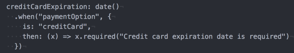 Sample: When you chose to pay with a credit card, then the expiration date is required