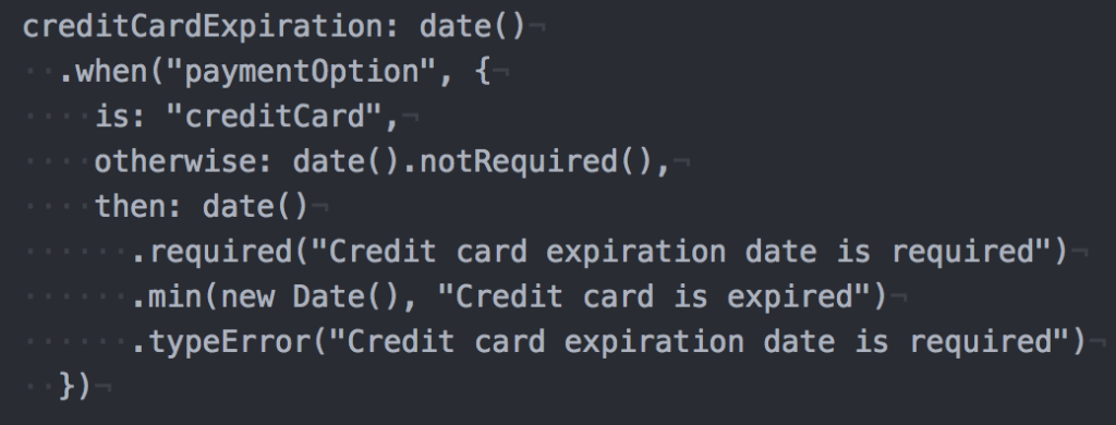 Sample: When you chose to pay with a credit card, then the expiration date is required, cannot be in the past, and has to be a real date
